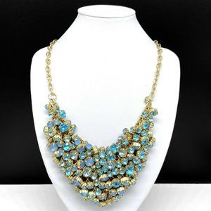 Aqua Blue Rhinestone Cluster Beaded Bib Necklace